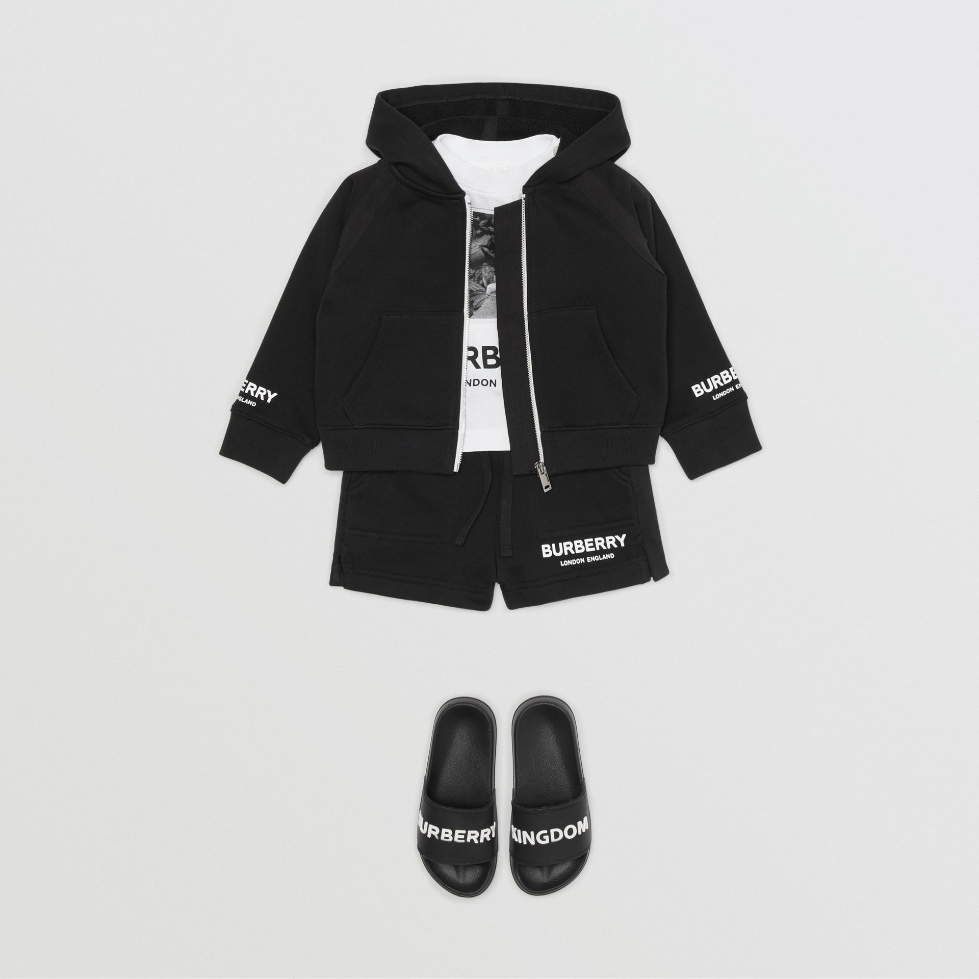 Logo Print Cotton Hooded Top in Black - Children | Burberry - gallery image 3