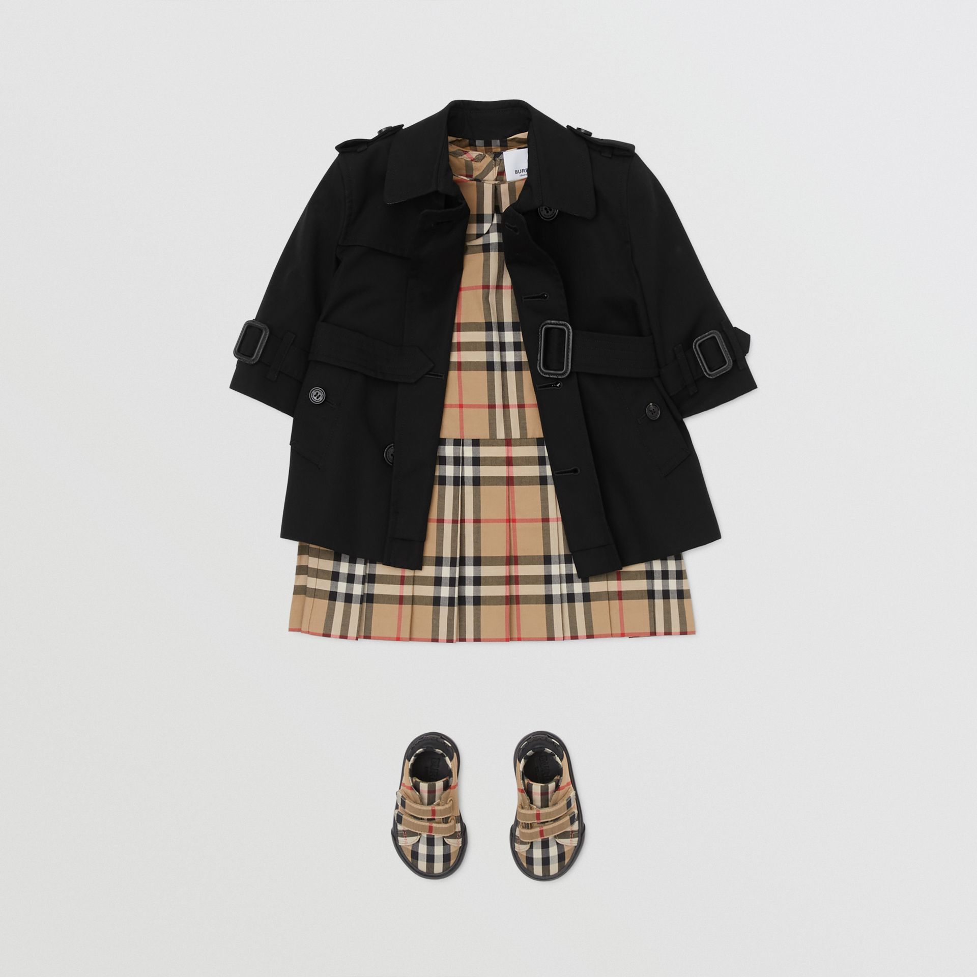 Cotton Gabardine Trench Coat in Black - Children | Burberry - gallery image 2