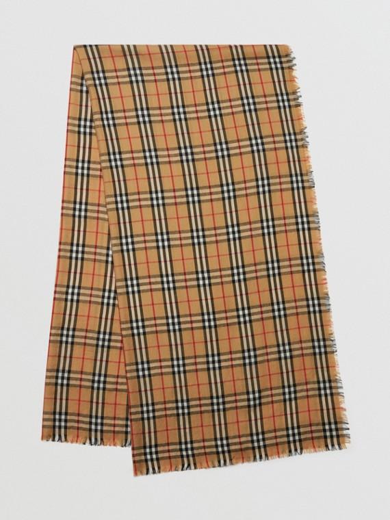 Cachecol leve de cashmere em Vintage Check (Amarelo Antigo)