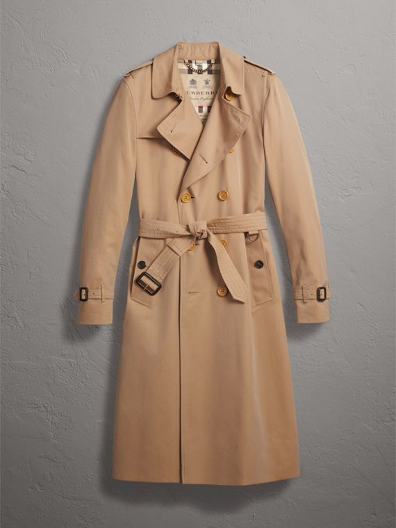 Extra-long Resin Button Cotton Gabardine Trench Coat in Honey - Men | Burberry United Kingdom - cell image 3