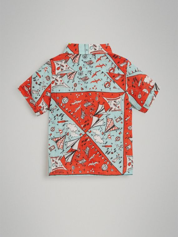 Short-sleeve Picnic Print Linen Shirt in Bright Aqua - Boy | Burberry - cell image 3