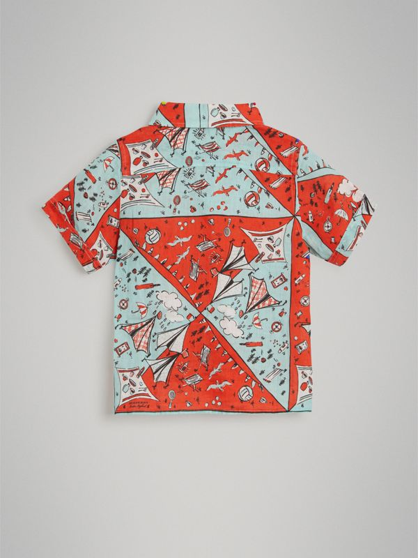 Short-sleeve Picnic Print Linen Shirt in Bright Aqua | Burberry - cell image 3