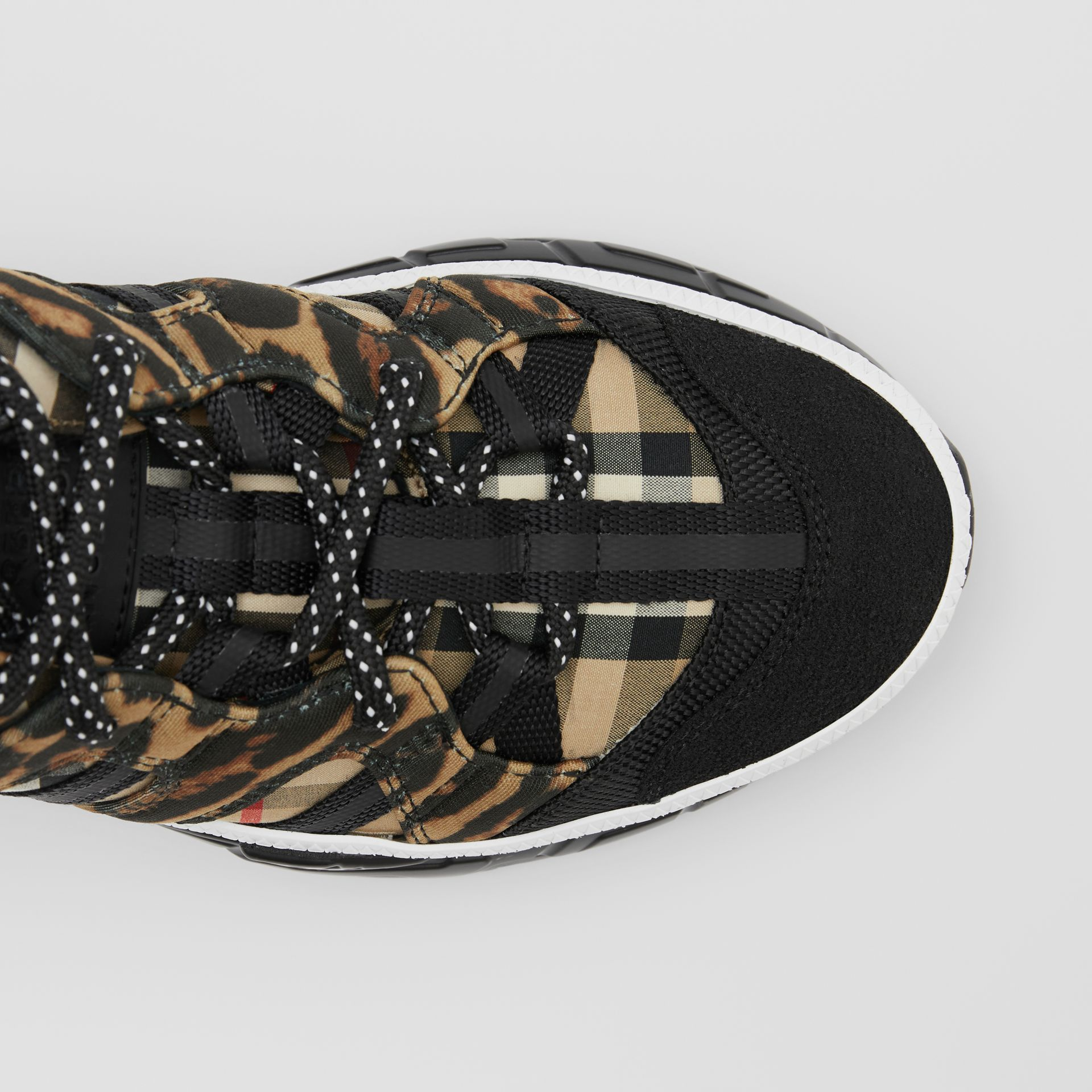 Leopard Print Neoprene and Cotton Union Sneakers in Archive Beige - Women | Burberry - gallery image 6