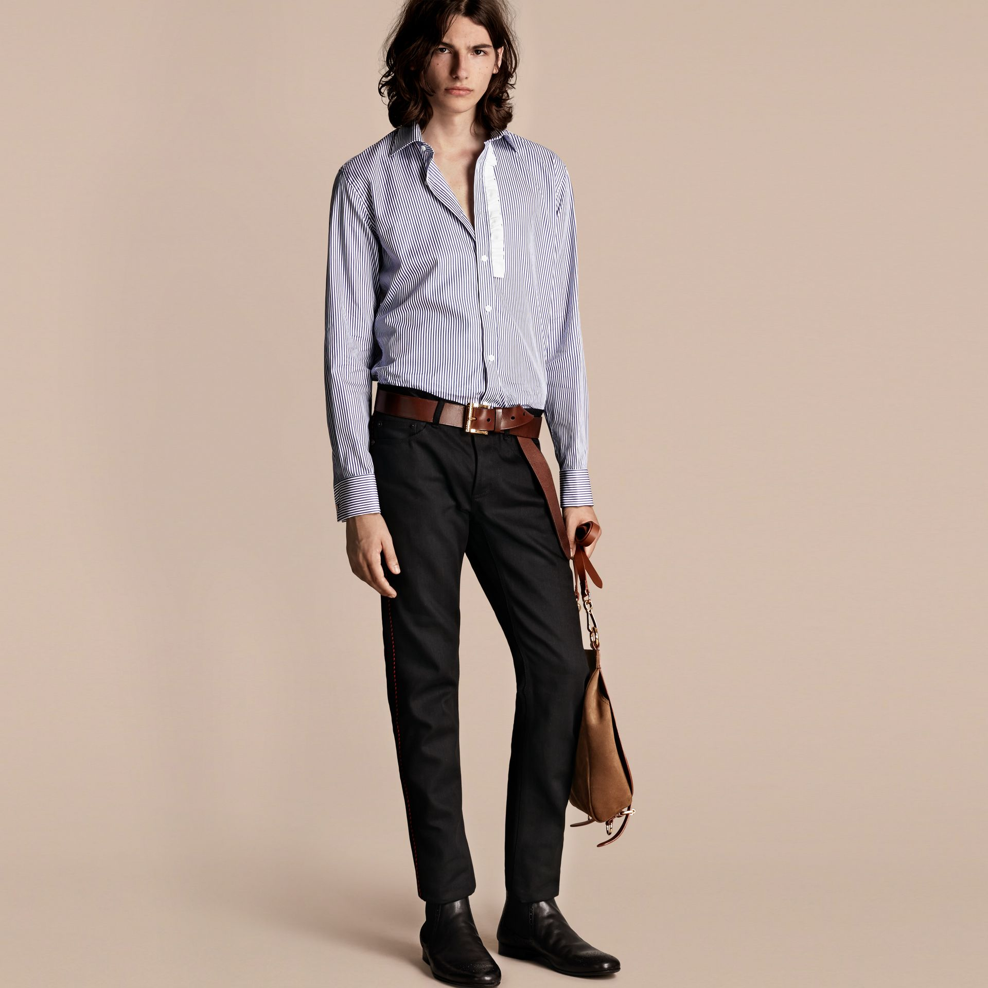 Indaco medio Camicia in cotone a righe con arricciature - immagine della galleria 7