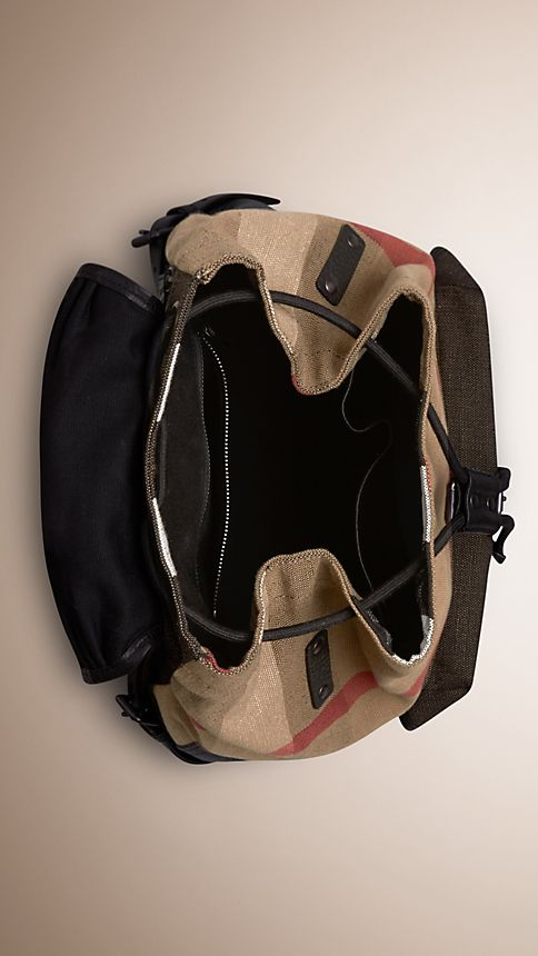 Camel Canvas Check Backpack - Image 5