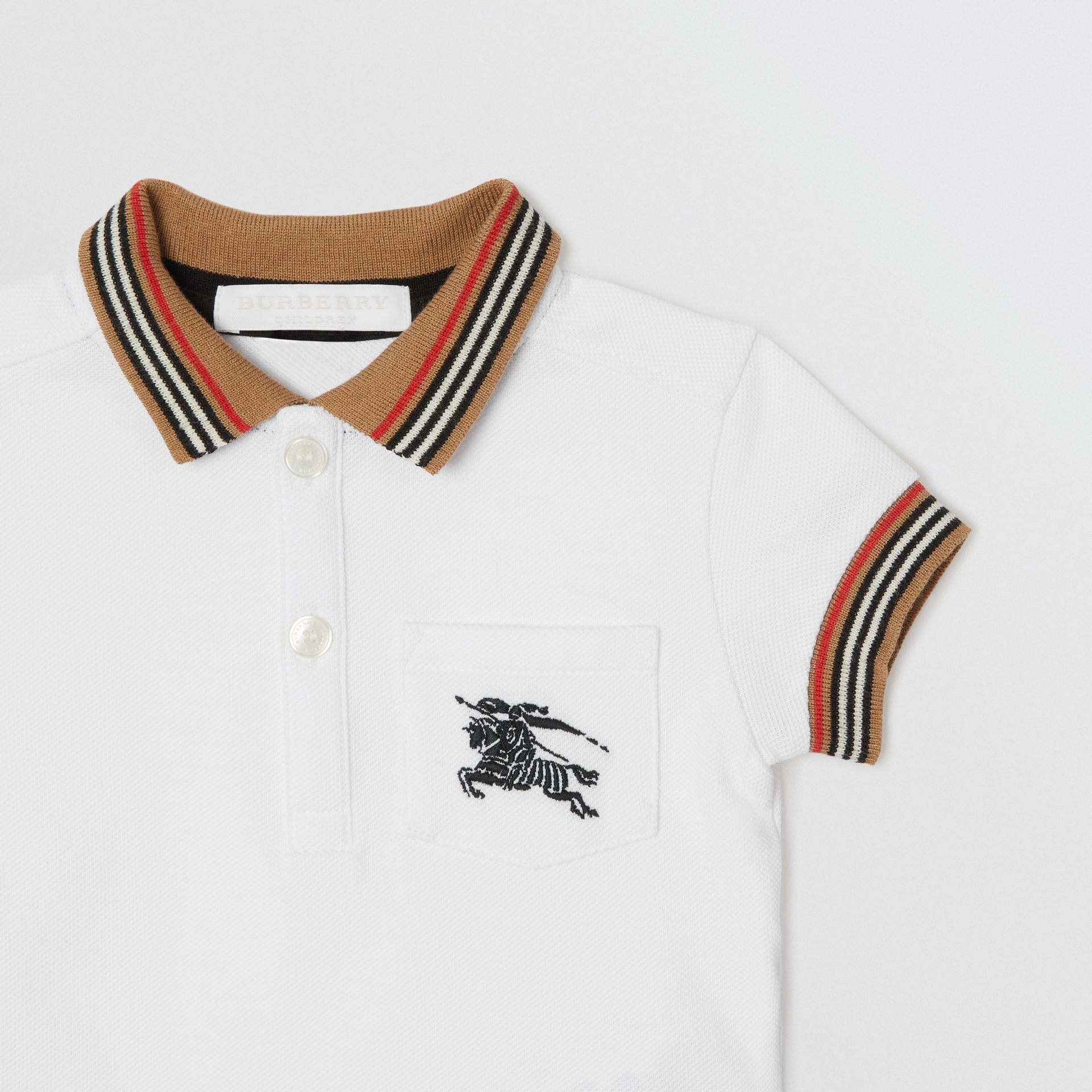 Stripe Detail Cotton Polo Shirt in White - Children | Burberry - gallery image 4