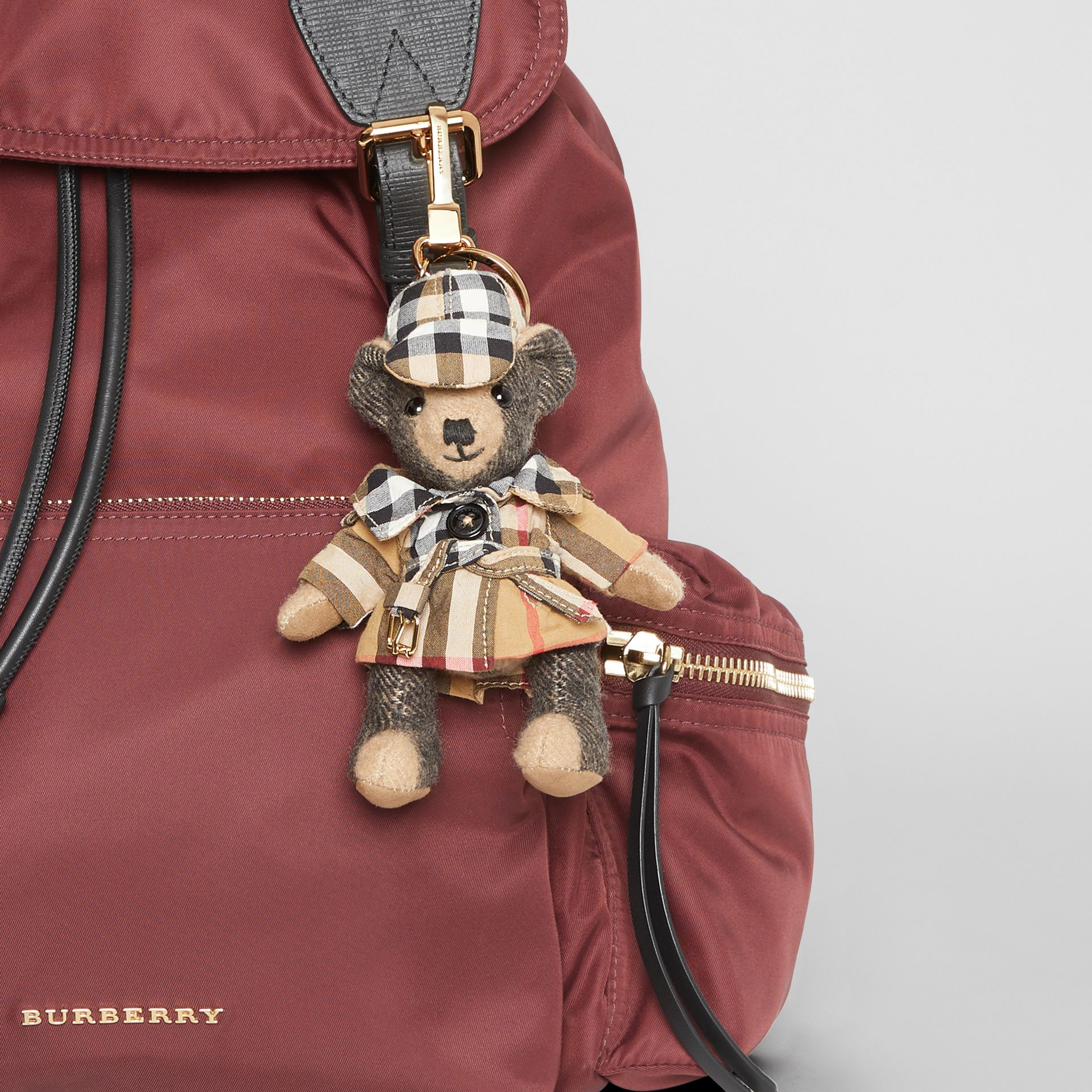 Thomas Bear Charm in Vintage Check Trench Coat in Camel | Burberry - gallery image 4