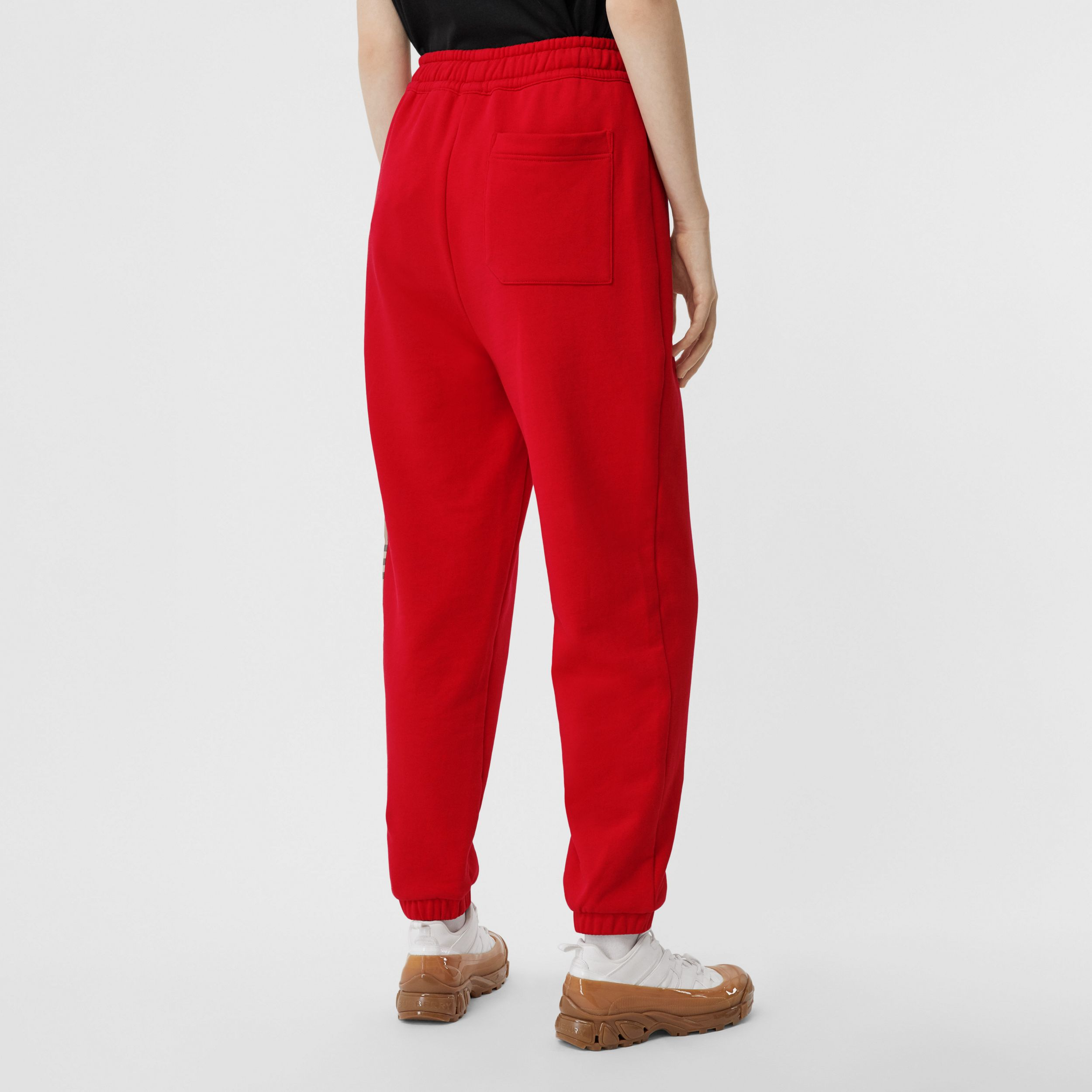 Vintage Check Panel Cotton Jogging Pants in Bright Red - Women | Burberry United Kingdom - 3