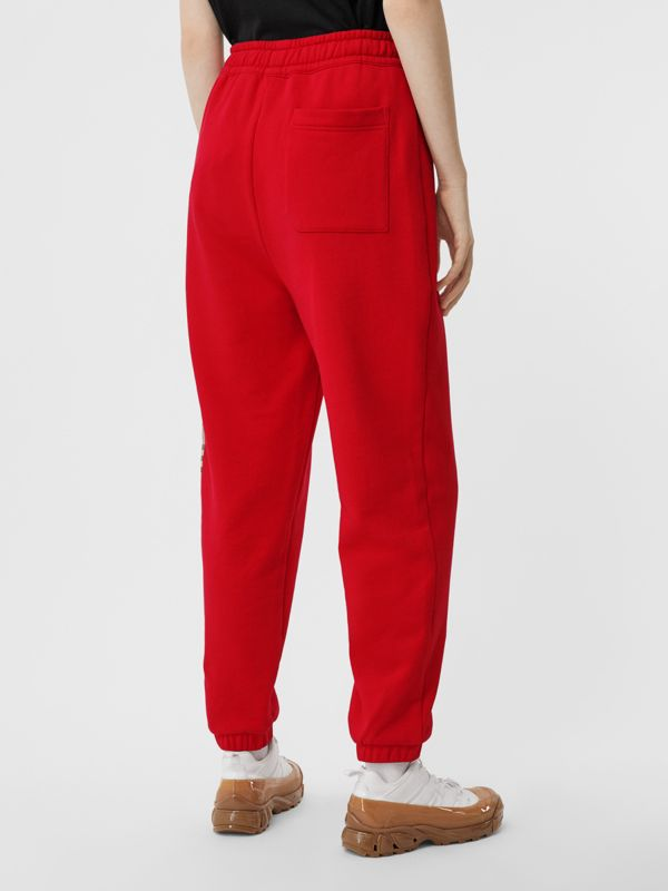 Vintage Check Panel Cotton Trackpants in Bright Red - Women | Burberry Hong Kong S.A.R - cell image 2