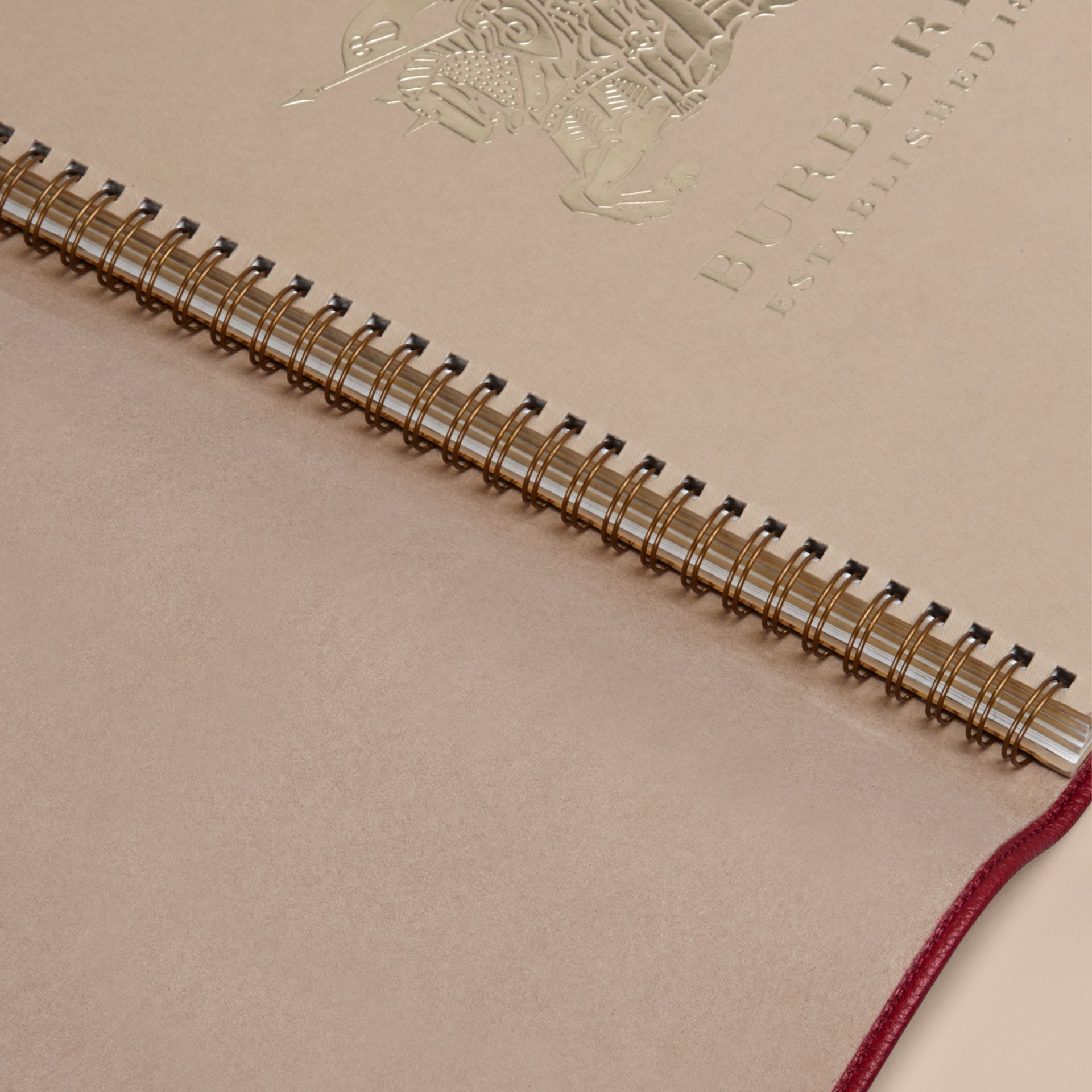 Grainy Leather A4 Notebook in Parade Red | Burberry United Kingdom - gallery image 3