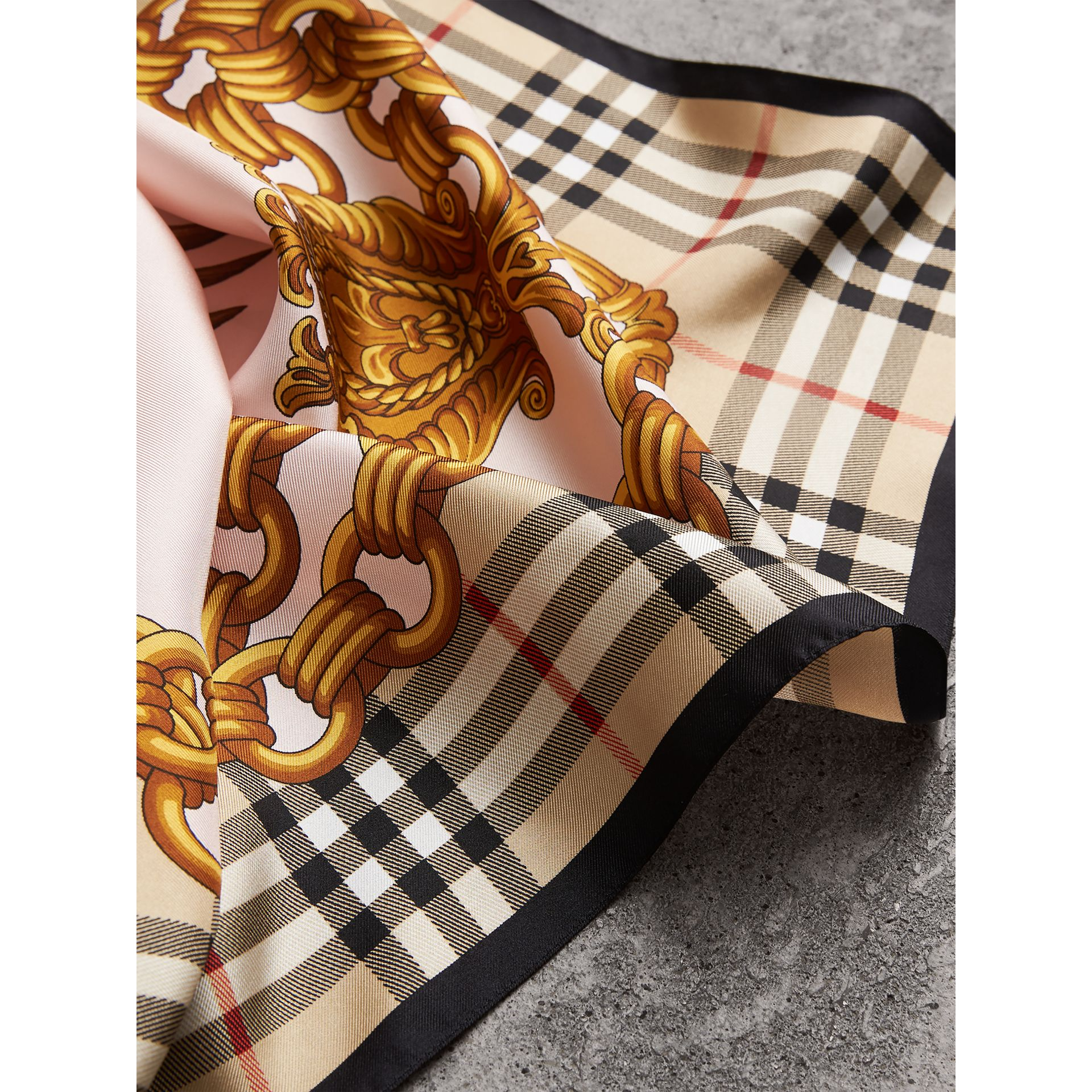 Archive Scarf Print Silk Scarf in Gold | Burberry - gallery image 1