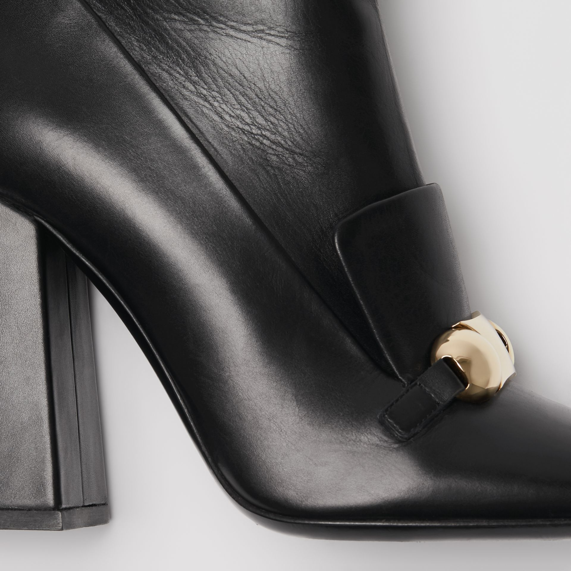 Studded Bar Detail Leather Ankle Boots in Black - Women | Burberry - gallery image 1