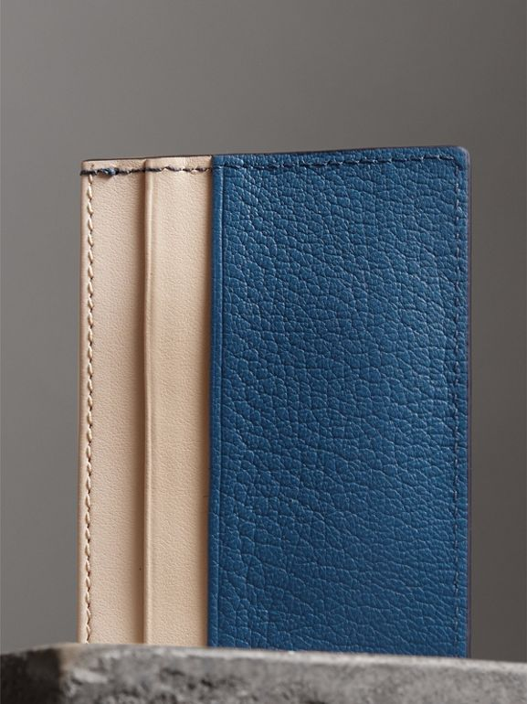 Two-tone Leather Card Case in Peacock Blue | Burberry - cell image 1