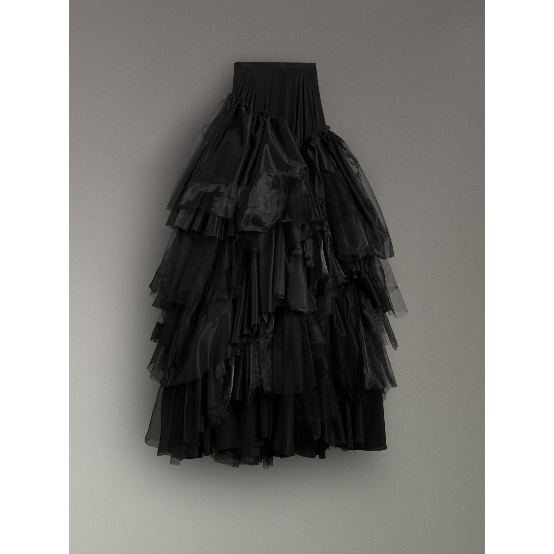 Organza and Tulle Tiered Maxi Skirt in Black - Women | Burberry Australia - gallery image 3