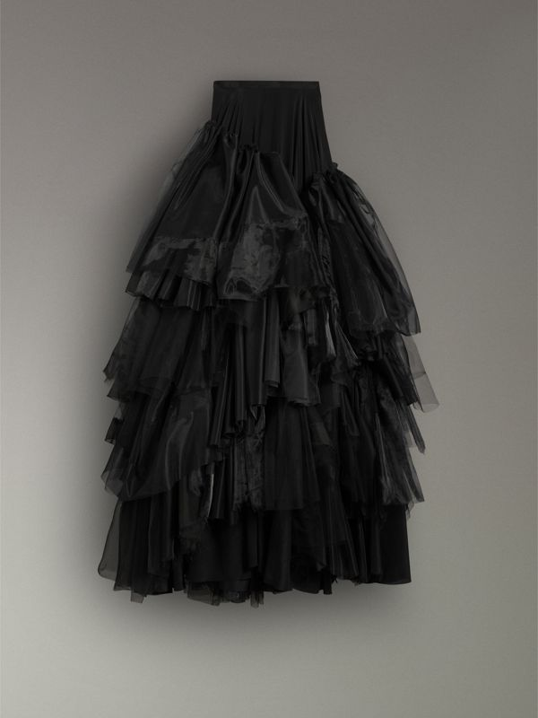 Organza and Tulle Tiered Maxi Skirt in Black - Women | Burberry Australia - cell image 3