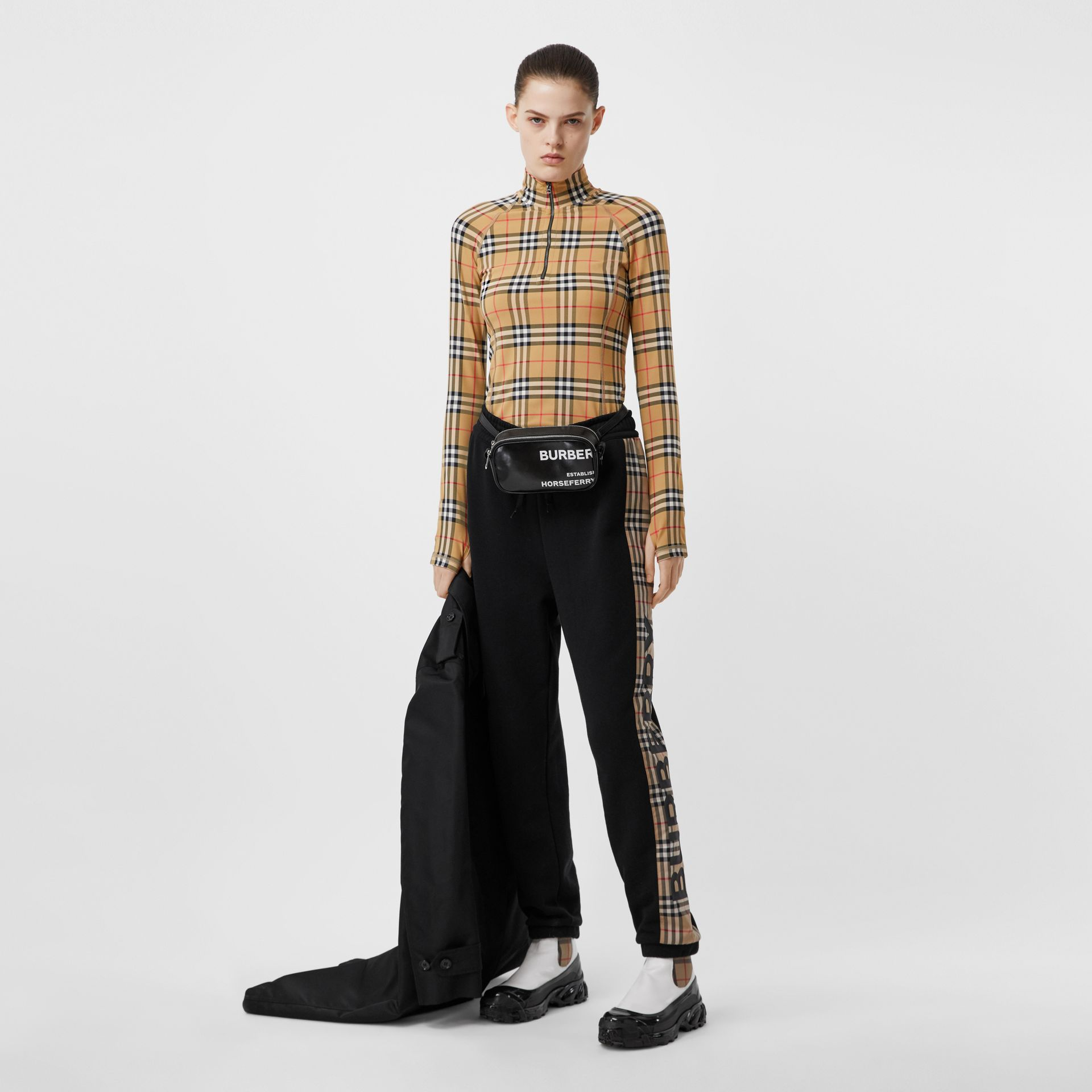 Vintage Check Stretch Jersey Turtleneck Top in Archive Beige - Women | Burberry United Kingdom - gallery image 5