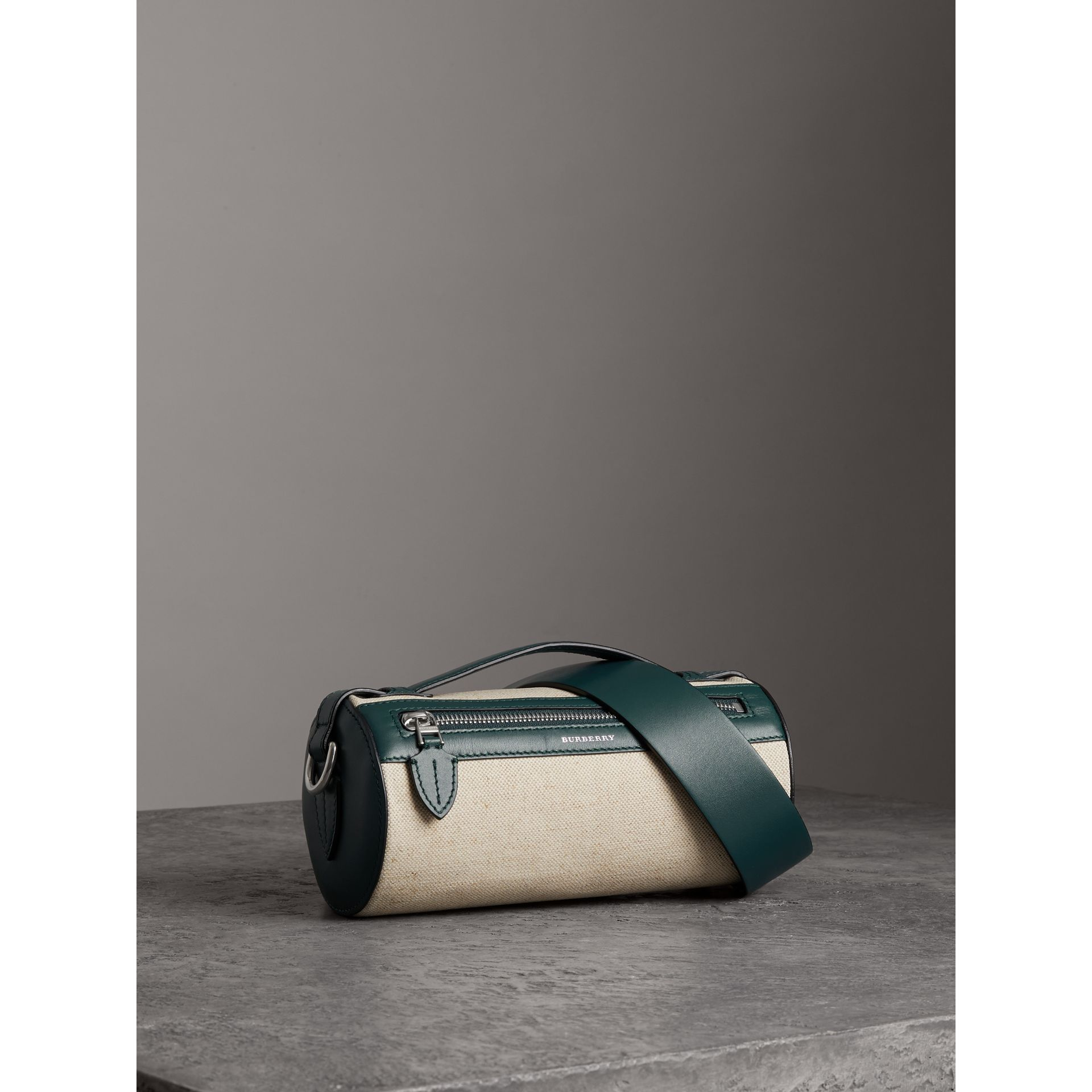 The Cotton Linen and Leather Barrel Bag in Dark Cyan - Women | Burberry Australia - gallery image 3