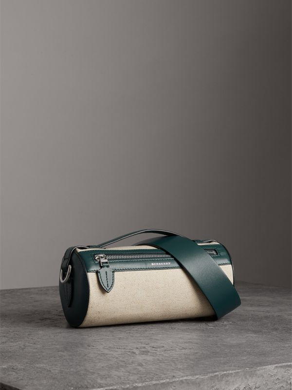 The Cotton Linen and Leather Barrel Bag in Dark Cyan - Women | Burberry Australia - cell image 3