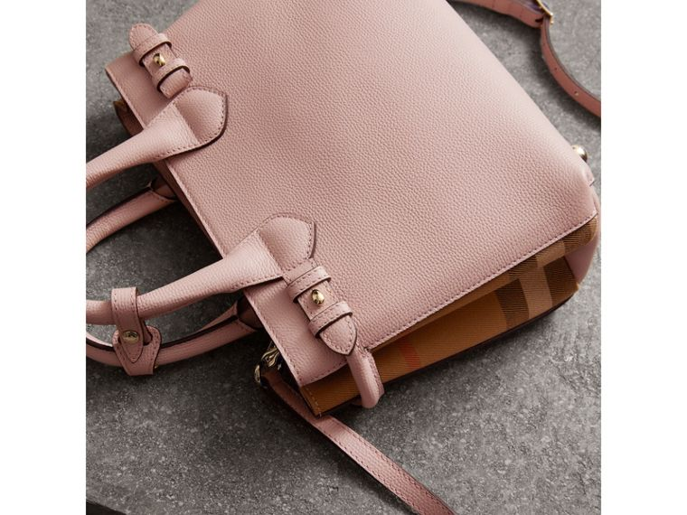 The Small Banner in Leather and House Check in Pale Orchid - Women | Burberry - cell image 4