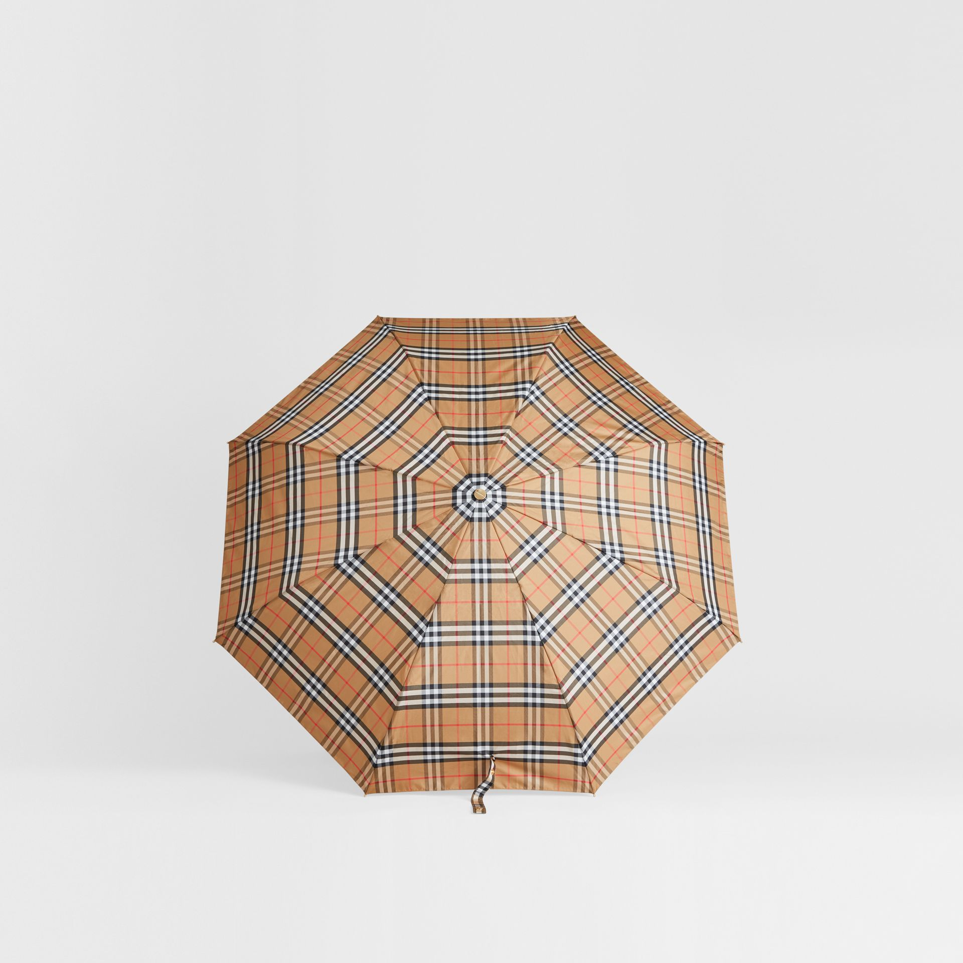 Vintage Check Folding Umbrella in Antique Yellow/limestone | Burberry Singapore - gallery image 2