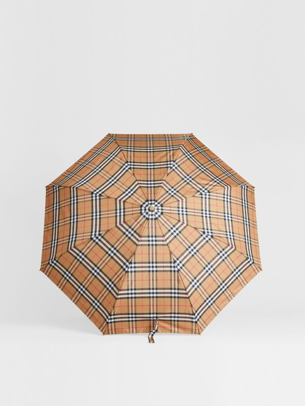 Vintage Check Folding Umbrella in Antique Yellow/limestone | Burberry Singapore - cell image 2