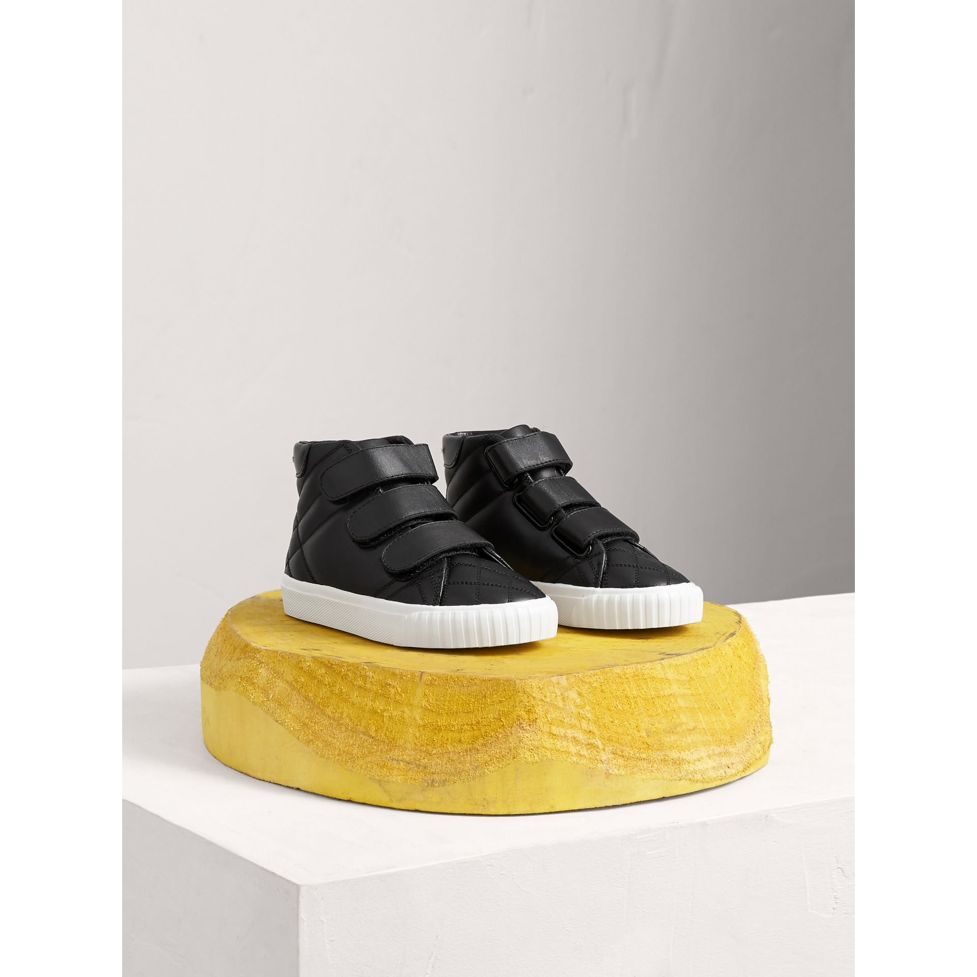 Check-quilted Leather High-top Sneakers in Black - Children | Burberry United Kingdom - gallery image 0