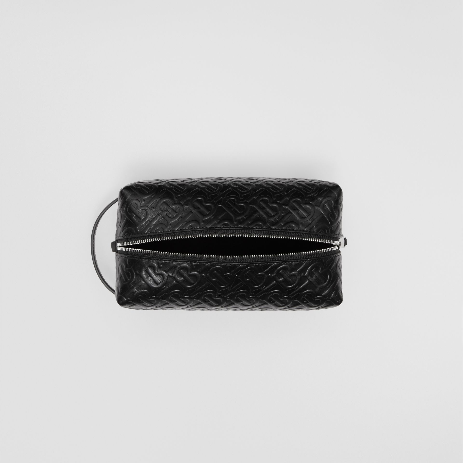 Monogram Leather Travel Pouch in Black - Men | Burberry United Kingdom - gallery image 4