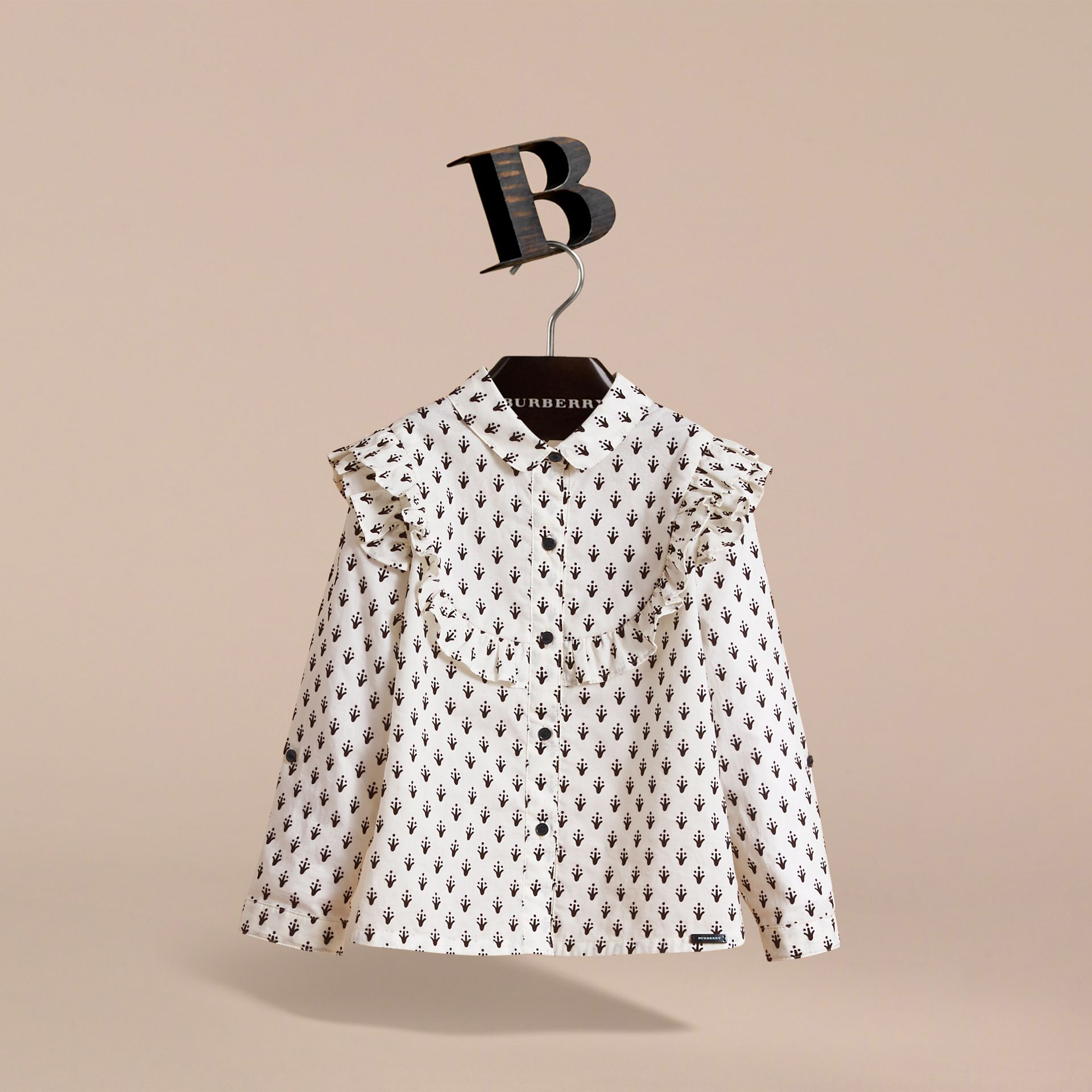 Frill Detail Flocked Cotton Shirt in Natural White - Girl | Burberry - gallery image 2