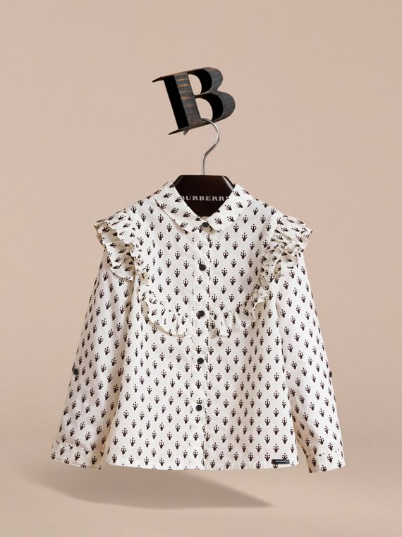 Frill Detail Flocked Cotton Shirt - Girl | Burberry - cell image 2