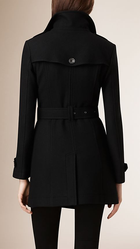 Black Short Double Wool Twill Trench Coat - Image 4