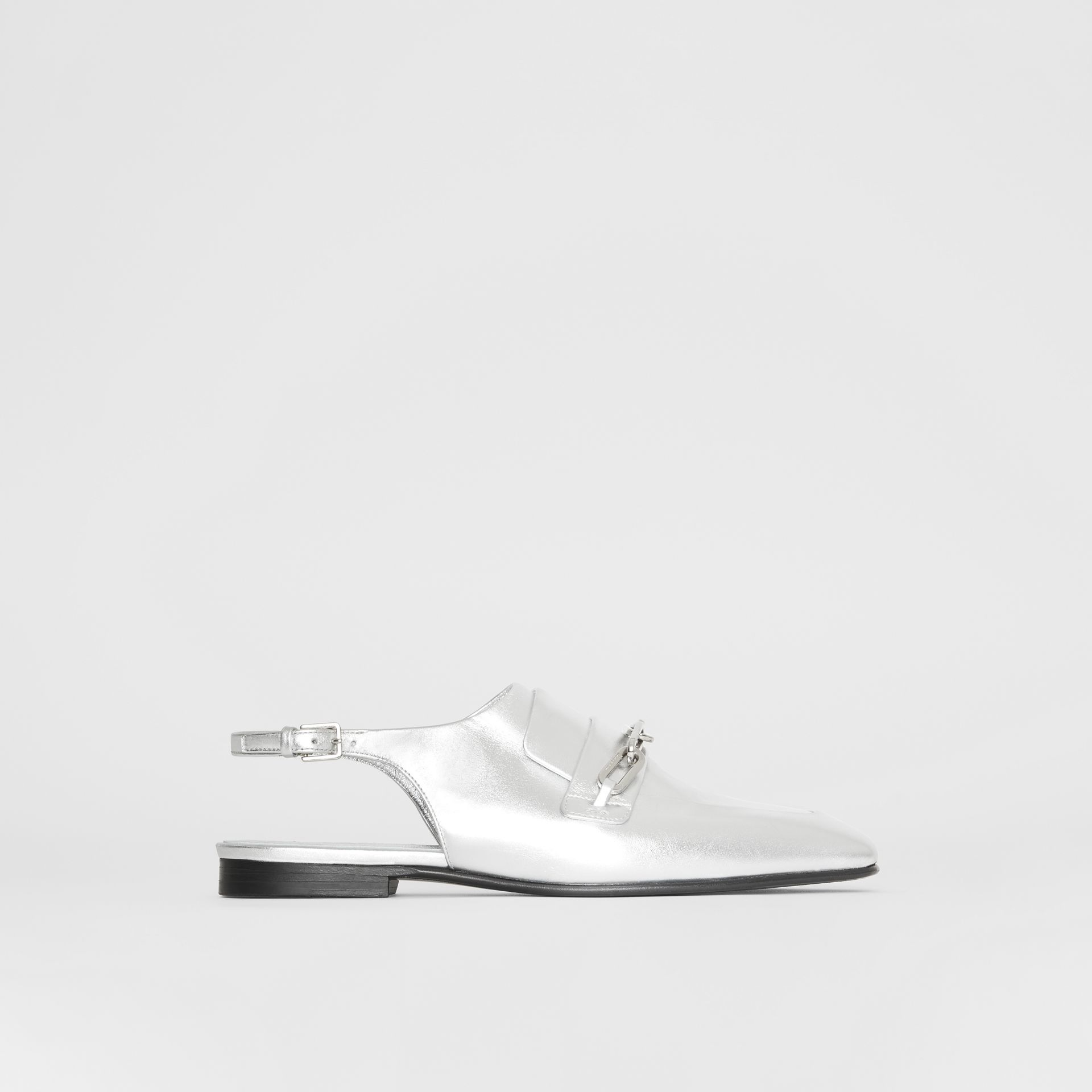 Link Detail Leather Slingback Loafers in Silver Grey - Women | Burberry - gallery image 5