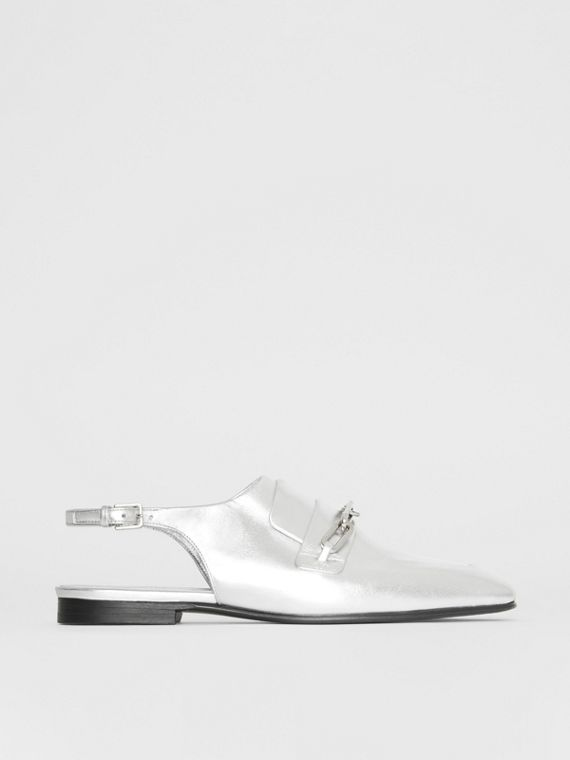 Link Detail Leather Slingback Loafers in Silver Grey