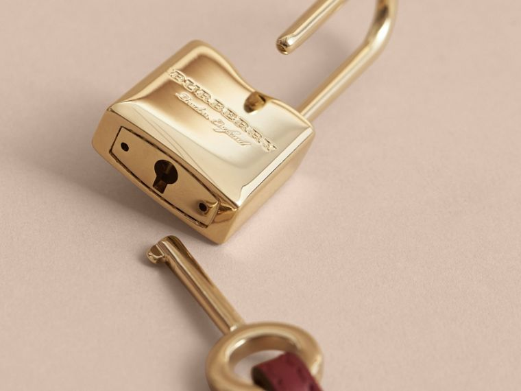 Beasts Leather Key Charm and Padlock in Crimson Red - Women | Burberry - cell image 1