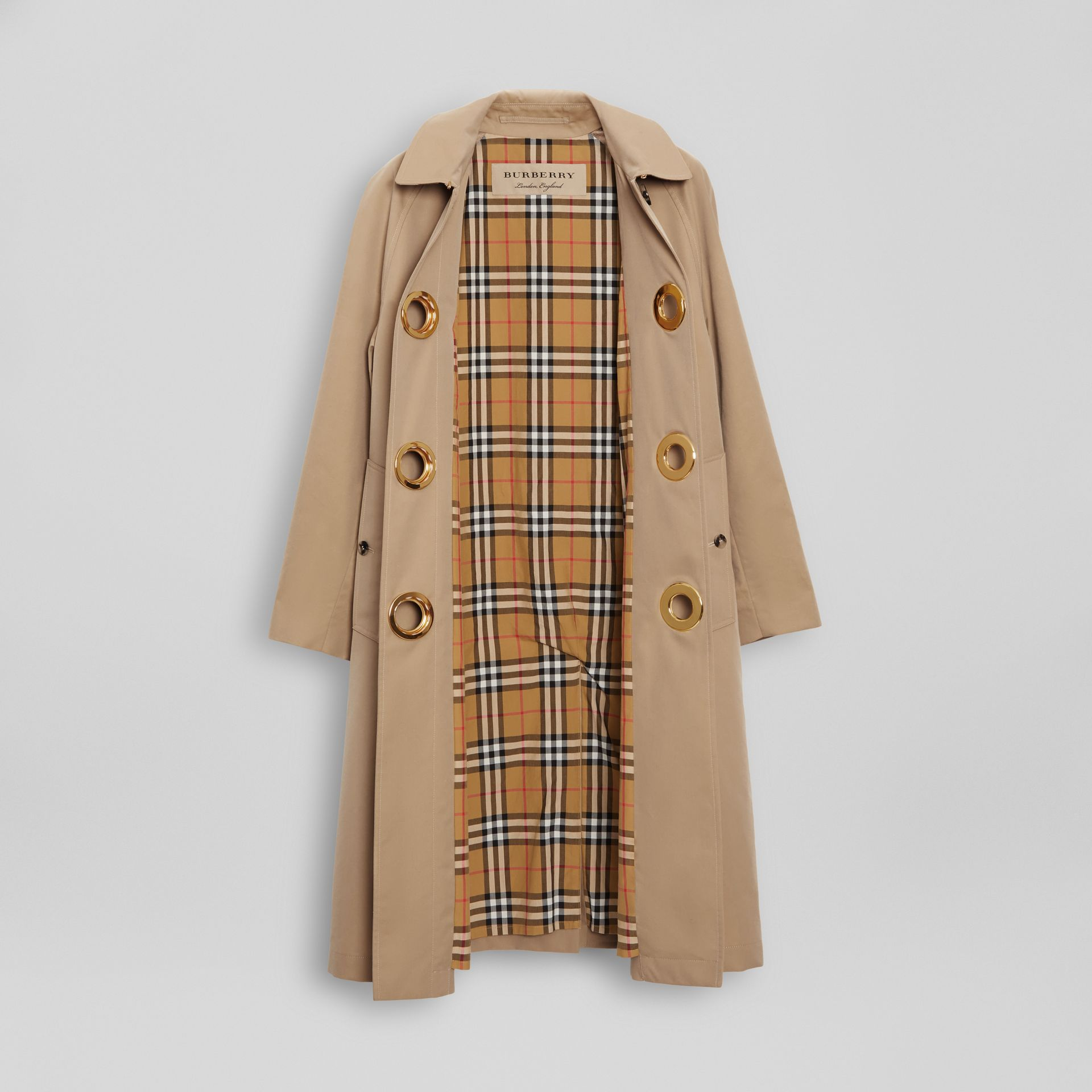 Grommet Detail Cotton Gabardine Car Coat in Honey - Women | Burberry - gallery image 7