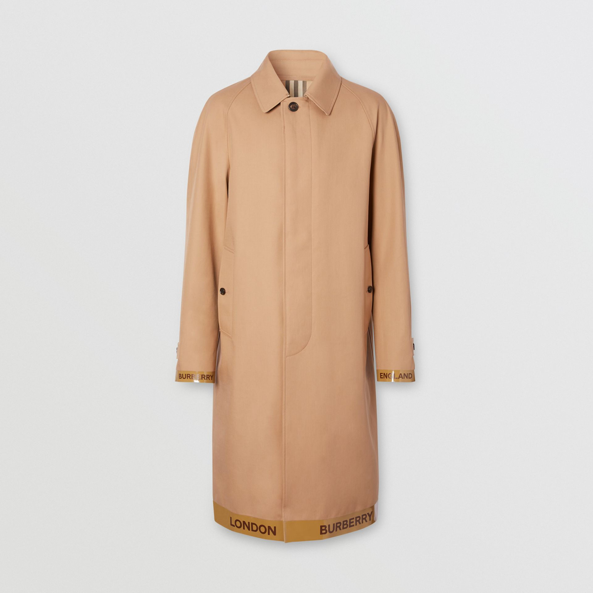 Logo Tape Cotton Car Coat in Warm Walnut - Men | Burberry - gallery image 3