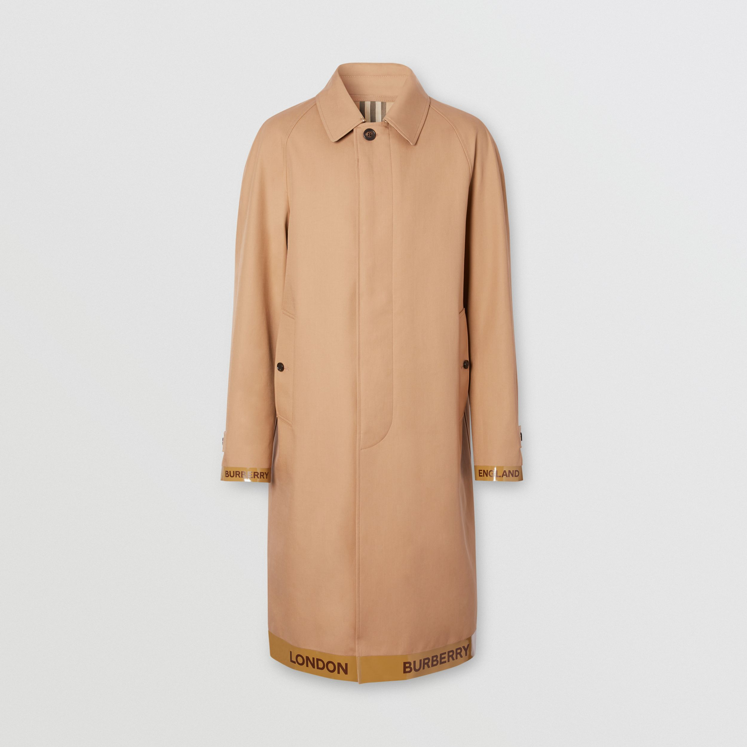 Logo Tape Cotton Car Coat in Warm Walnut - Men | Burberry - 4
