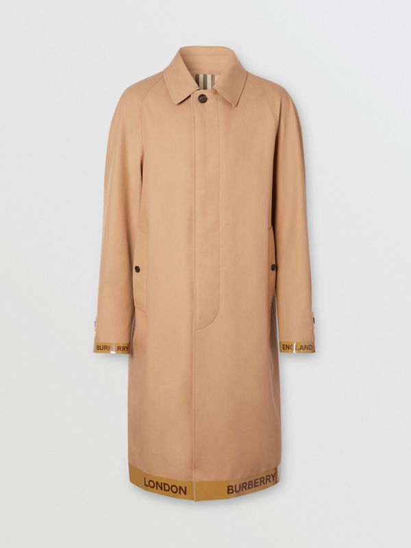 Logo Tape Cotton Car Coat in Warm Walnut - Men | Burberry - cell image 3