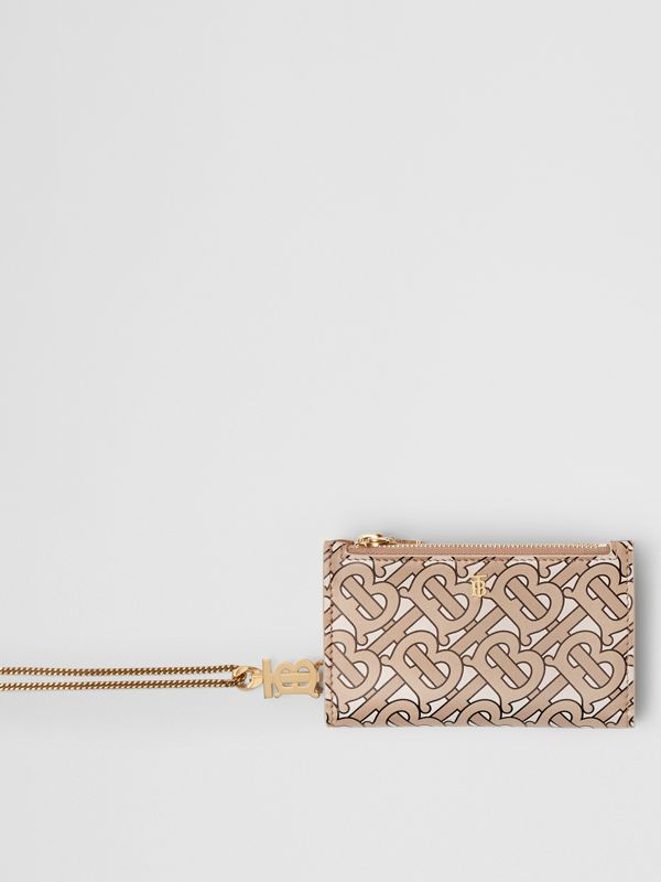 Monogram Motif Leather Wallet with Detachable Strap in Beige - Women | Burberry - cell image 2