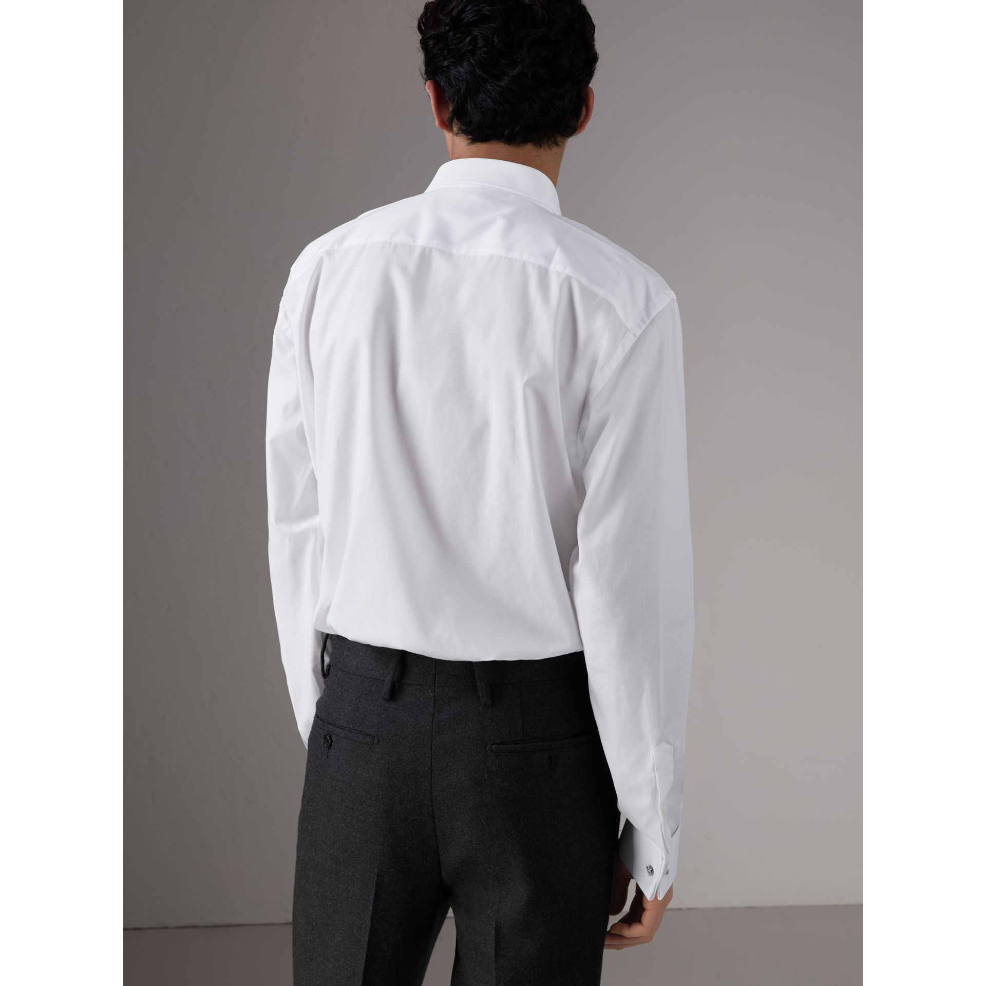 Modern Fit Panelled Bib Cotton Evening Shirt in White - Men | Burberry - gallery image 2