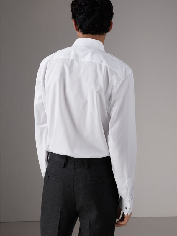 Modern Fit Panelled Bib Cotton Evening Shirt in White - Men | Burberry - cell image 2