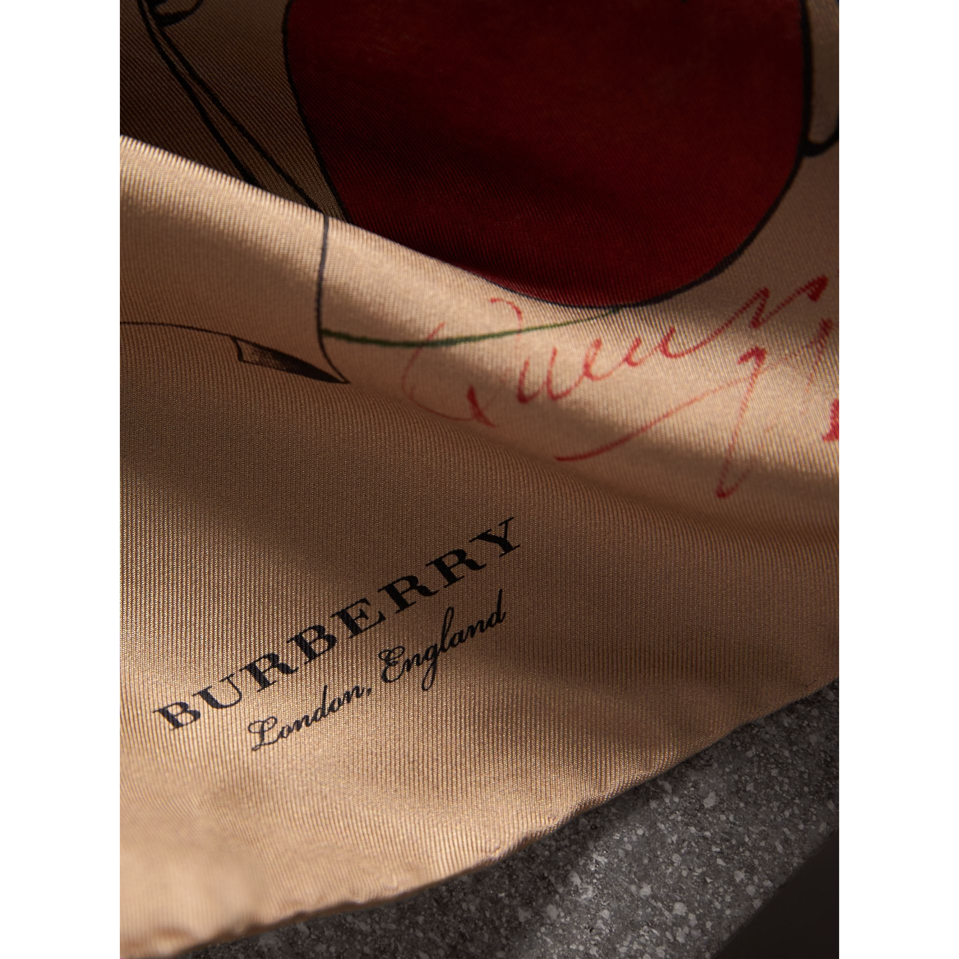 The Burberry Bandana in Sketch Print Silk in Honey | Burberry - gallery image 2