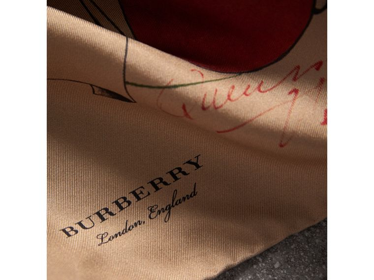 The Burberry Bandana in Sketch Print Silk in Honey | Burberry Australia - cell image 1