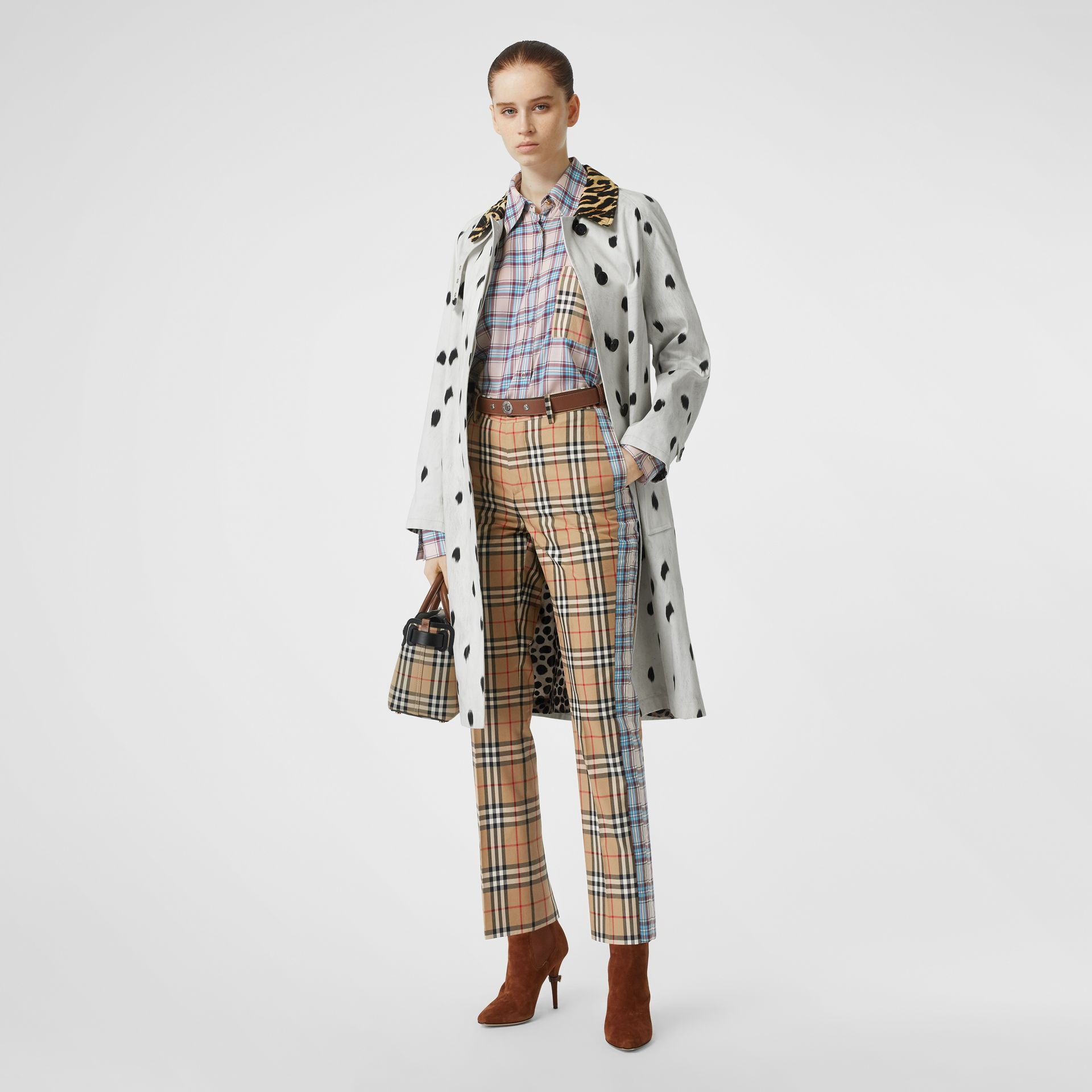 Straight Fit Contrast Check Cotton Trousers in Archive Beige - Women | Burberry Australia - gallery image 0