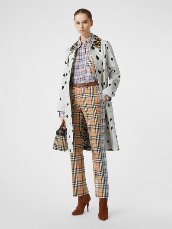 Pantaloni in cotone dal taglio dritto con motivi tartan a contrasto (Beige Archivio)