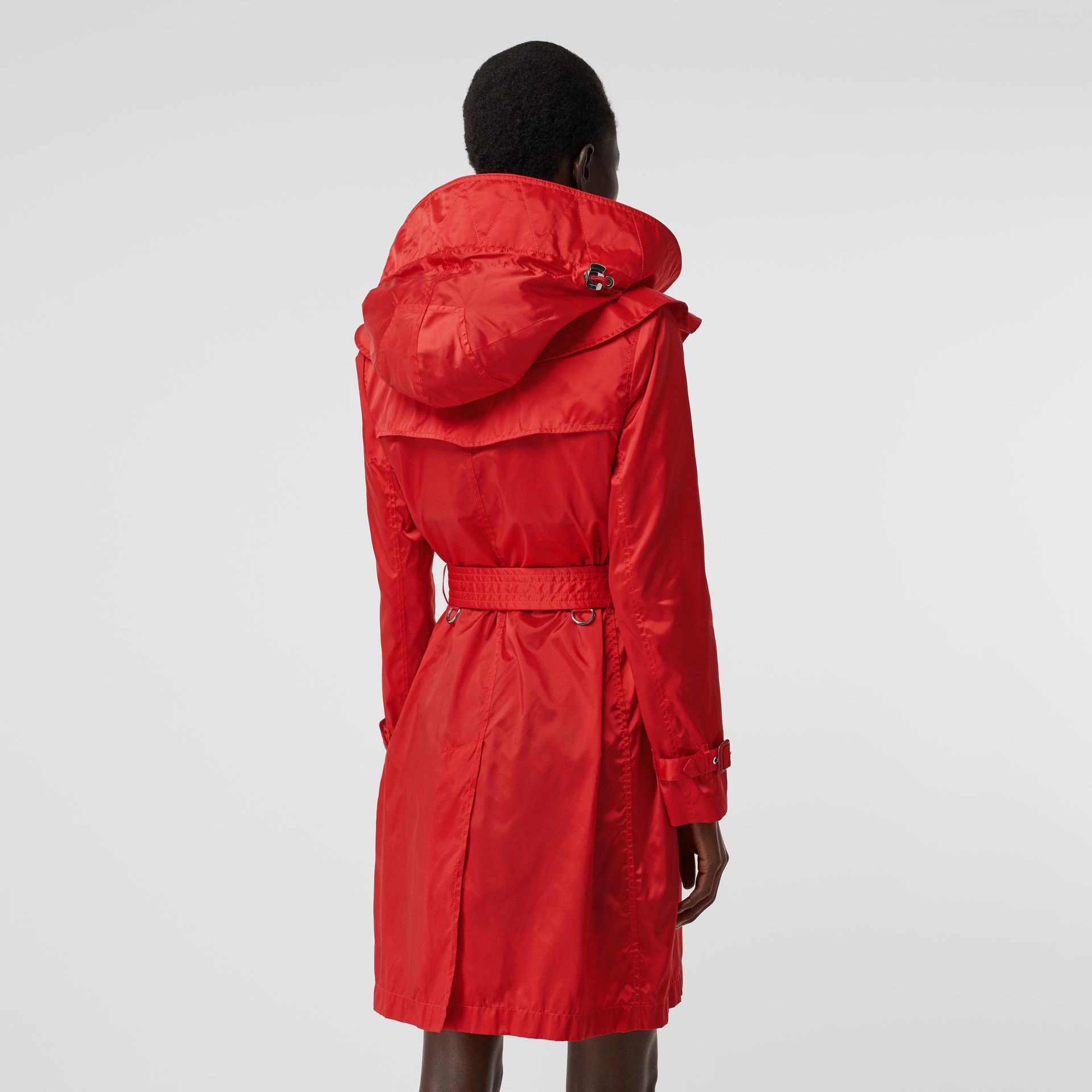 Detachable Hood ECONYL® Trench Coat in Bright Red - Women | Burberry - gallery image 2