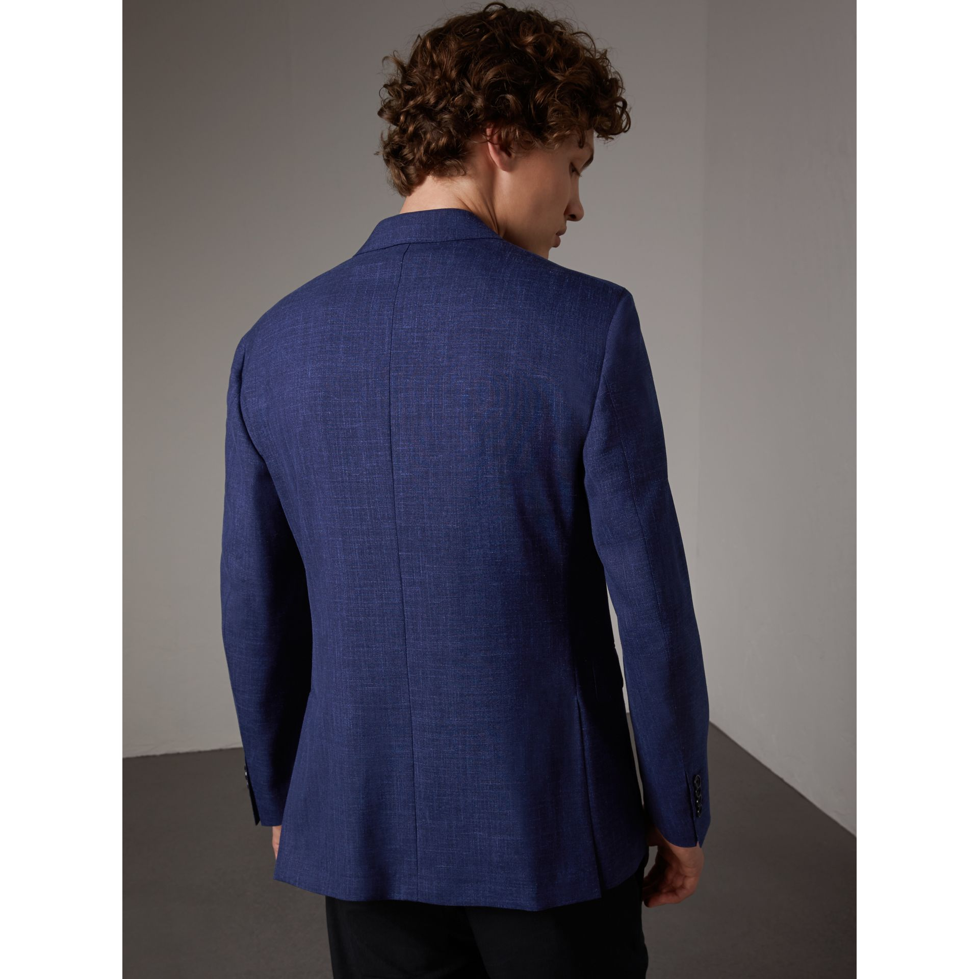 Modern Fit Wool Silk Linen Tailored Half-canvas Jacket in Steel Blue - Men | Burberry - gallery image 4