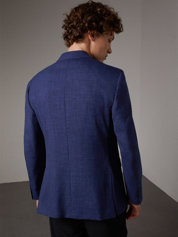 Modern Fit Wool Silk Linen Tailored Half-canvas Jacket in Steel Blue - Men | Burberry - cell image 3