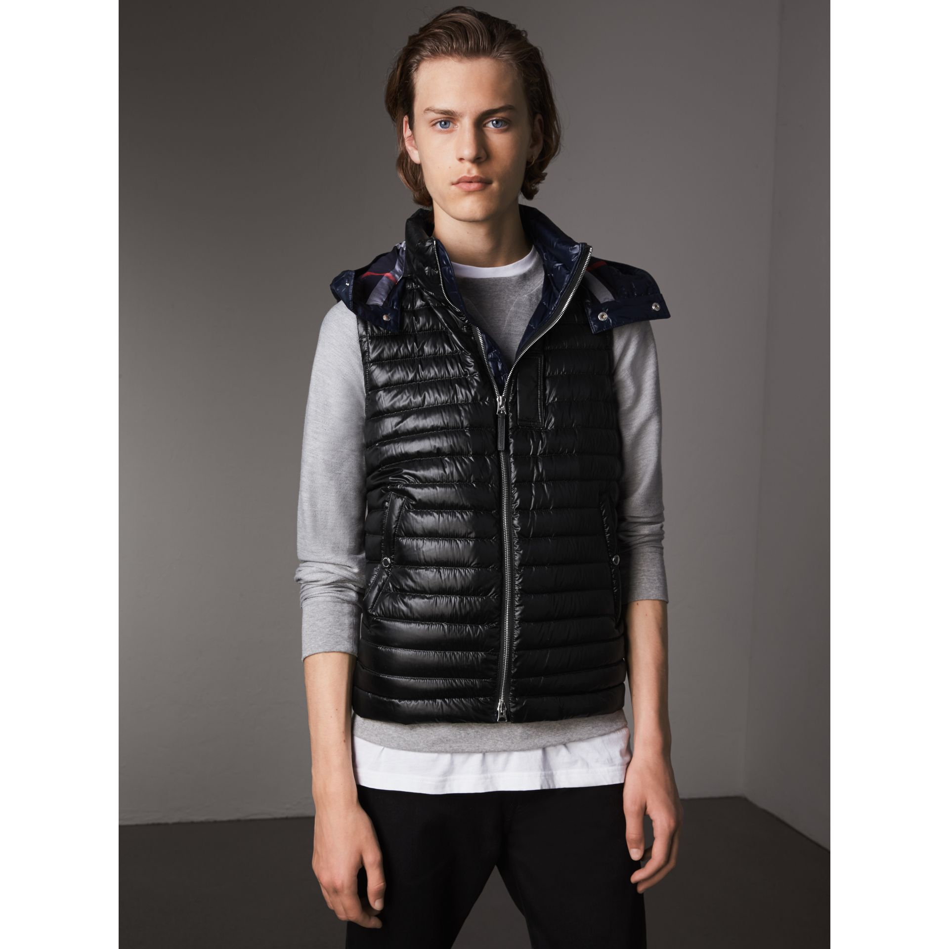 Detachable Hood Packaway Goose-down Gilet in Black - Men | Burberry - gallery image 5
