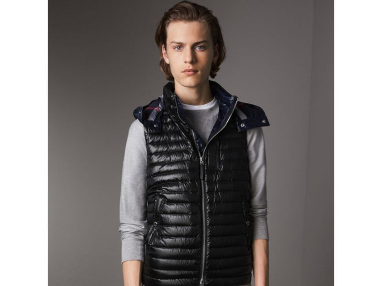 Detachable Hood Packaway Goose-down Gilet in Black - Men | Burberry - cell image 4