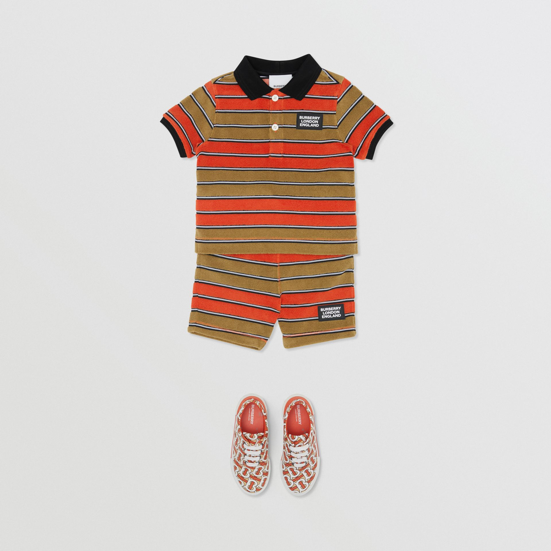Logo Appliqué Striped Towelling Polo Shirt in Vermilion Red - Children | Burberry - gallery image 2